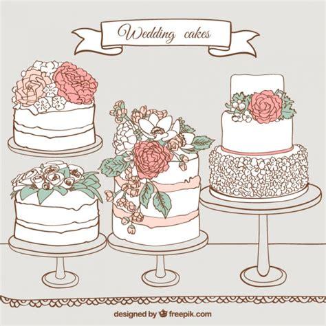 Hochzeitstorte Zeichnung by Gezeichnet Hochzeit Kuchen Der Premium Vektor
