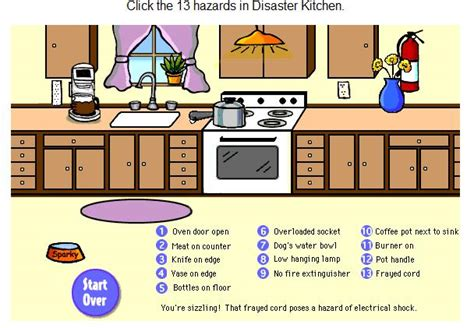 kitchen safety worksheets