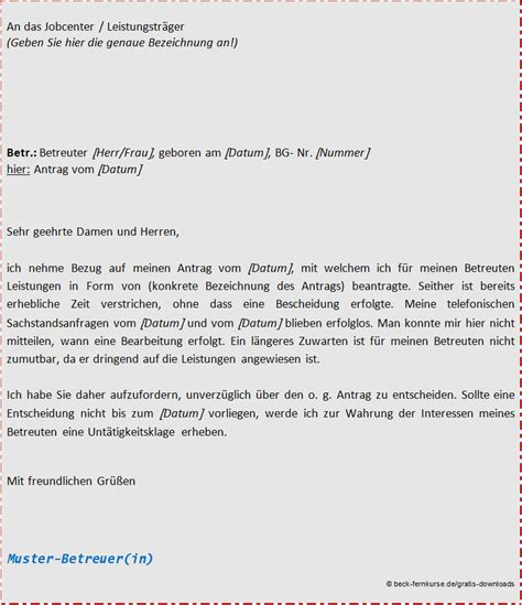 Bewerbung Schreiben Muster Jobcenter Musterbrief Sachstandsanfrage F 252 R Ihre Betreuungsarbeit Beckakademie Fernkurse