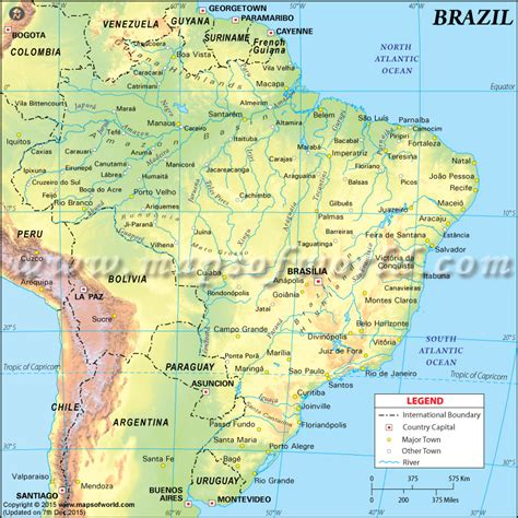 physical map  brazil brazil physical map