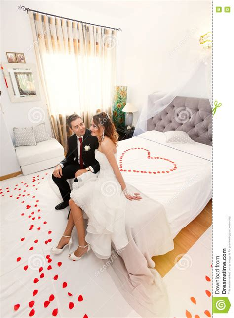 love images in bedroom newlyweds in bedroom with heart stock photo image of
