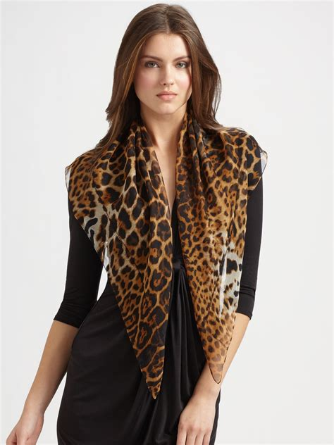 Trend Alert Leopard Print Scarves by Laurent Silk Leopard Print Scarf In Gray
