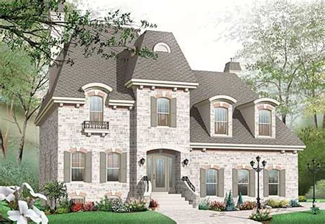 Roomy Home Plan With Mansard Roof 21887dr Cad Mansard House Plans