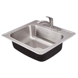 colony ada 25x22 single bowl kitchen sink kit american