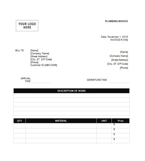 plumber invoice template plumbing invoice template 8 free sle exle