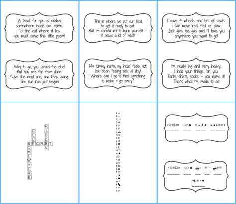Scavenger Hunt Clue Cards Template by Scavenger Hunt With Free Printables