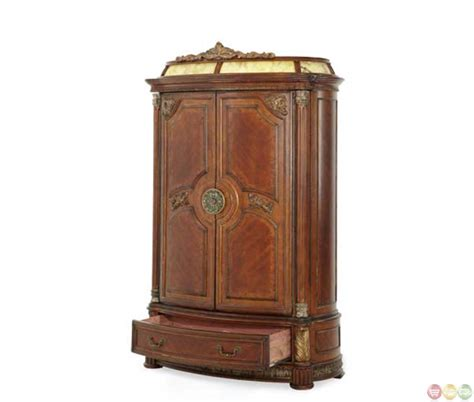aico armoire michael amini antique brass villa valencia illuminated