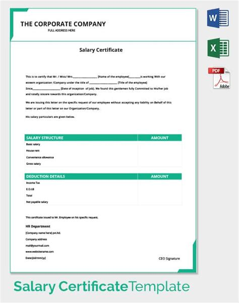 corporate certificate template exle of certificate of employment with salary