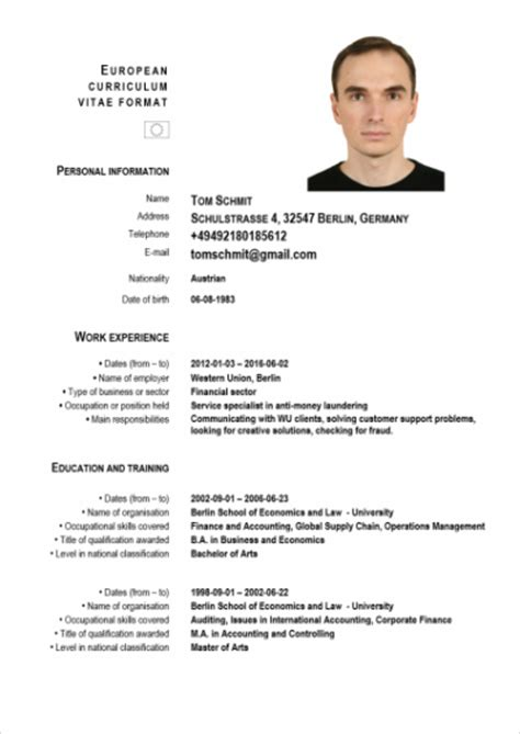 Resume Sles For Germany Sle Of European Cv