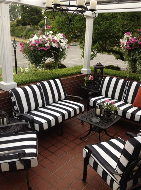striped patio cushions black and white striped outdoor furniture cushions