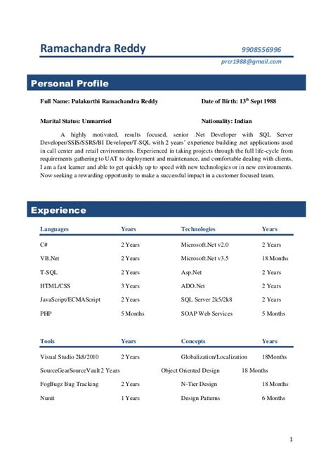 resume format for 2 years experience in asp 28 images