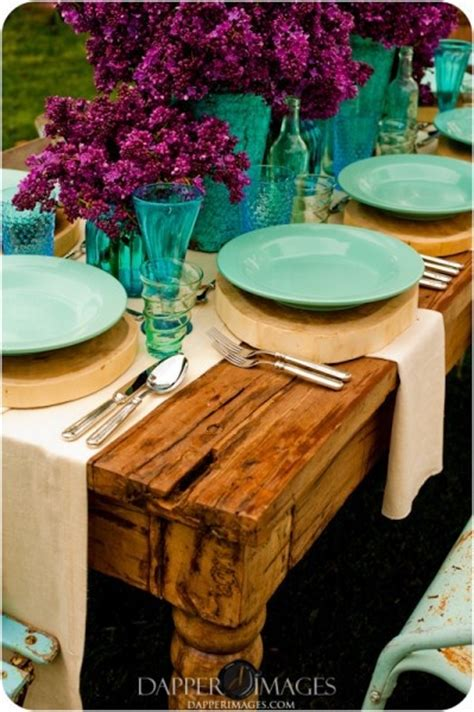 the color purple setting teal purple table setting i want to decorate like this