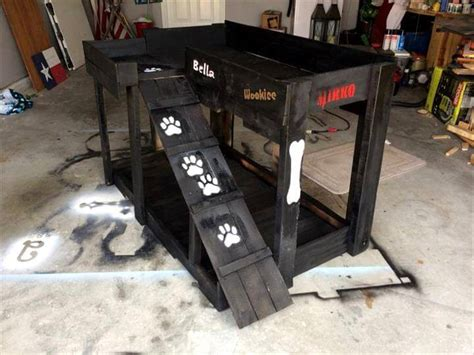 elevated dog bed with stairs 40 diy pallet dog bed ideas don t know which i love more