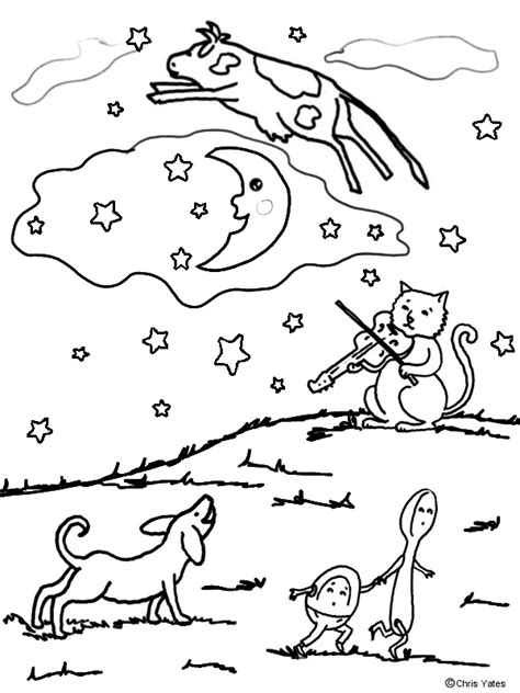 hey diddle diddle coloring page nursery rhymes pinterest