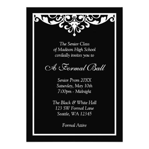 black and white flourish formal prom 5x7 paper