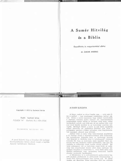 Zakar András dr. - A Sumér hitvilág és a Biblia 1972.