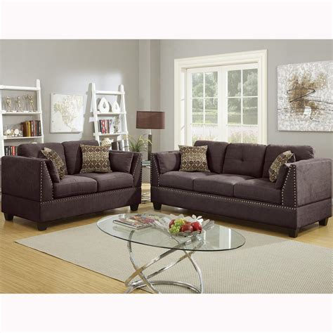 Brown Sofa Set by Venetian Worldwide Abruzzo 2 Brown Velvet Sofa