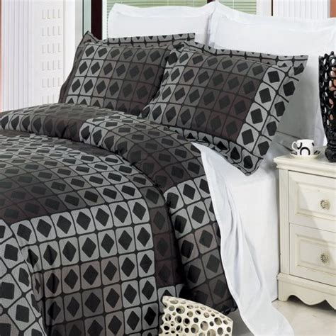 Mens Bedding Sets Geometric Grey Black Duvet Cover Boys Mens Bedding Set