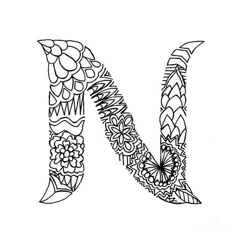 N Drawing Images by Patterned Letter N Drawing By Alyssa Zeldenrust