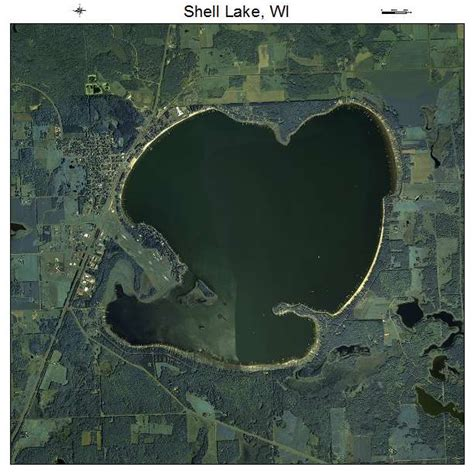 aerial photography map of shell lake wi wisconsin