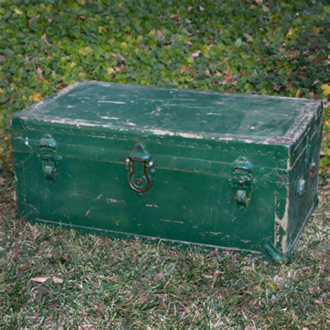 rustic green new zealand rustic green metal trunk forever vintage rentals
