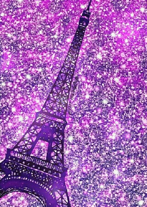 purple eiffel tower iphone android glitter wallpaper hd