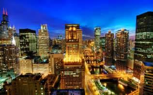 lights in town buildings city chicago skyscrapers desktop wallpaper