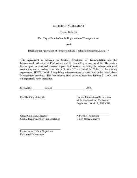 Simple Letter Of Agreement Sle 28 letter of agreement template sle collegesinpa org