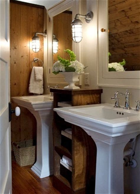 rustic sconces delightful touch in tight bathroom space