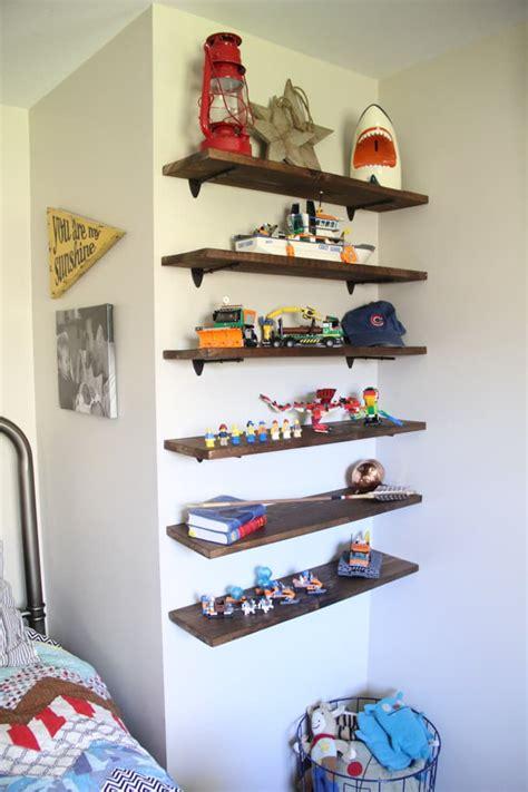 diy floating lego shelves bright green door