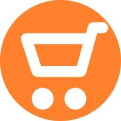 Orange shopping cart icon png