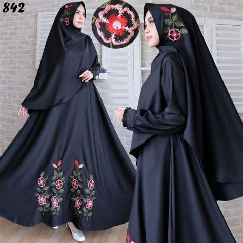 Lucia Syari Bordir Hitam gamis syari baloteli bordir c842 baju muslim terbaru