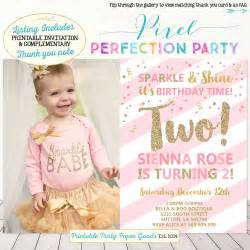 second birthday invitation pink and gold 2nd birthday