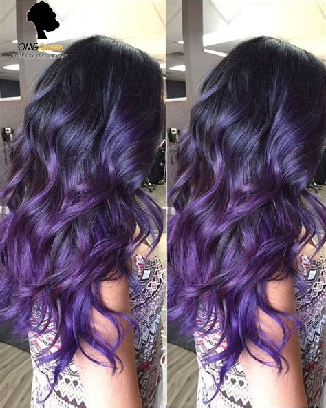 black n purple hair sexy wavy style purple ombre high quality human hair lace