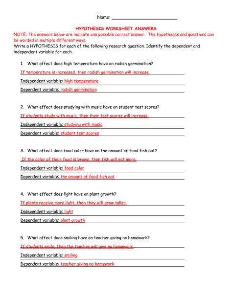 independent variable worksheet ag science hypothesis worksheet answers curriculum