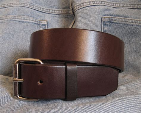 Handmade Mens Leather Belts - mens brown leather belt 1 75 quot wide casual style custom