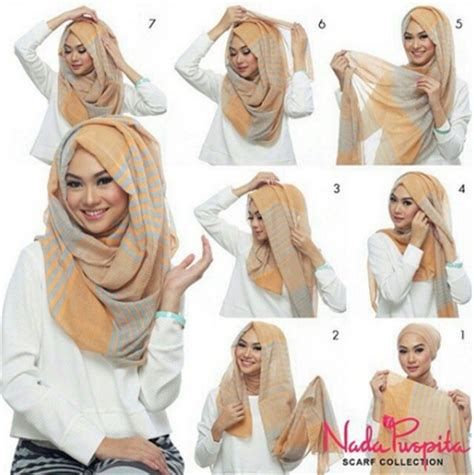 Gaya Kerudung Segi Empat kreasi jilbab modern segi empat gaya terbaru 2016