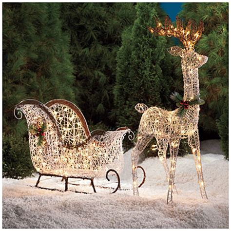 white vine deer 2 piece sleigh set big lots