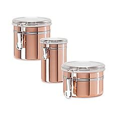 copper canister for a kitchen barh and beyond in greenville nc oggi copper plated canister with see through lid bed bath beyond