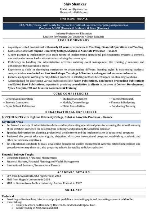 resume for the post of lecturer 28 images adjunct