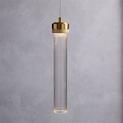 Fluted Cylinder Led Pendant West Elm Cylinder Pendant Lighting