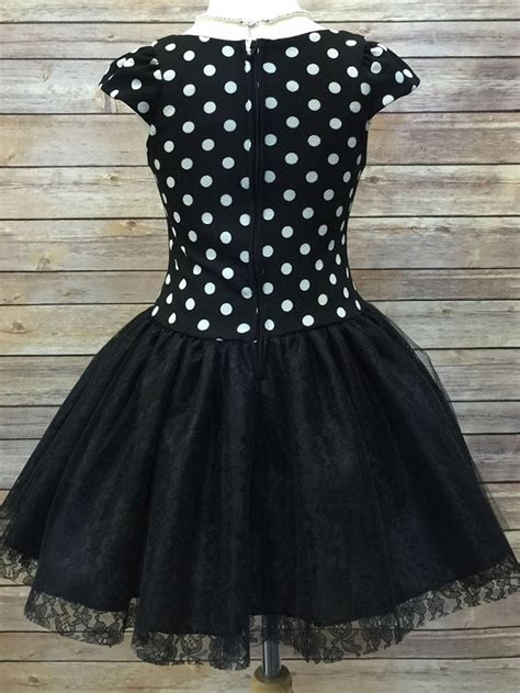Dress Lace Polka black polka dot dress w lace skirt rhinestone brooch
