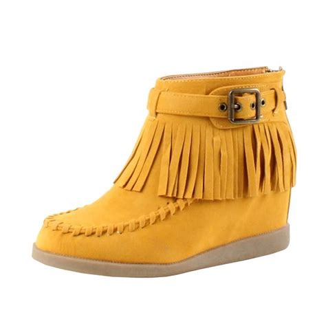 guilty shoes tobery 03 fringe wedge moccasin boots