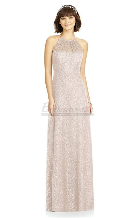 Light Pink Lace Halter Long Bridesmaid Dress BD CA1727 in