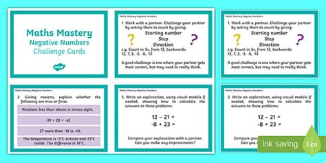 year 6 maths challenge cards year 6 maths mastery negative numbers challenge cards