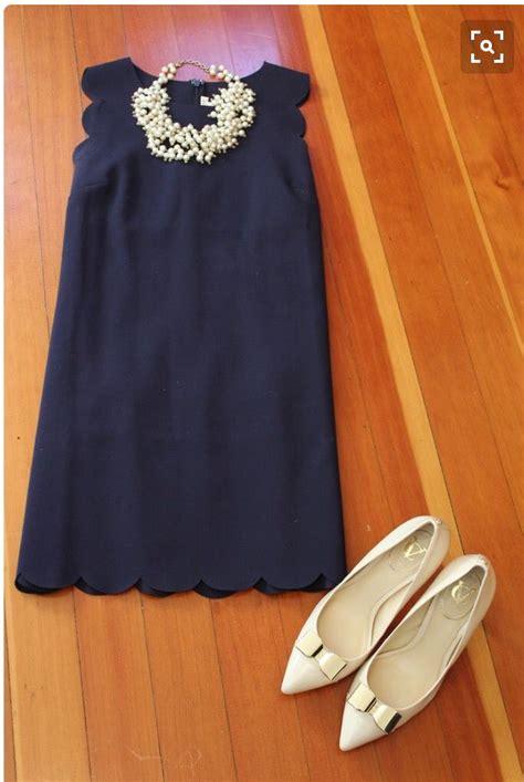 spring  stitch fix navy blue scallop edge dress