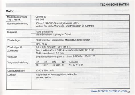 Sachs Motor Technische Daten by Sachs Optima 50 Technische Daten Motor