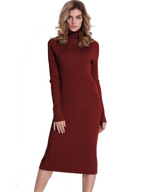 Pretty Trutleneck Sweater Maroon ribbed turtleneck midi length sweater dress light burgundy