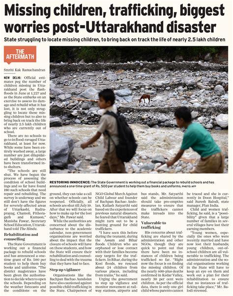 Essay On Uttarakhand A Made Disaster by Missing Children Trafficking Worries Post Uttarakhand Disaster Human Trafficking India
