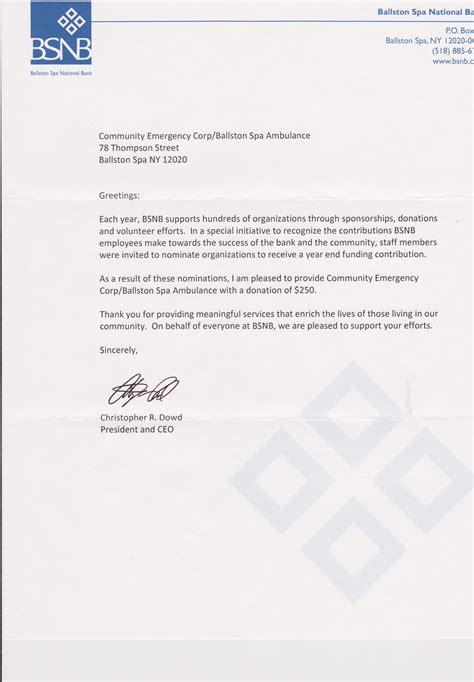 Sponsorship Letter For Health Fair Bsnb Donation Letter Community Emergency Corps Ballston Spa Ny 12020